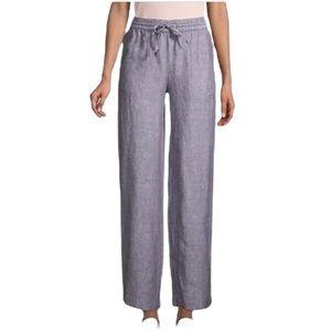 Saks Fifth Avenue Linen Drawstring Wide-Leg Pants, Graphite Medium
